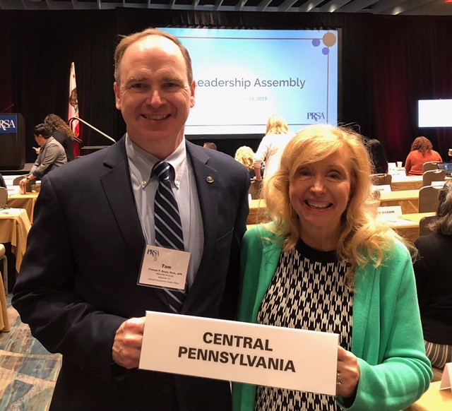 Central PA delegates at Leadership Assembly, Tom Boyle, APR and Liz Smith, APR